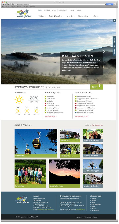 Region Wasserfallen - Eine Webdesign Referenz von projektvenice - Startseite
