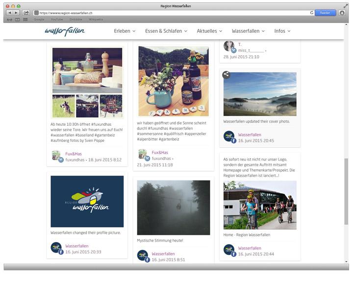 Region Wasserfallen - Eine Webdesign Referenz von projektvenice - social Stream
